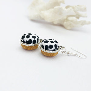 Side View-Silver Dangle Earrings-Double Sided-White Black Dots and Tikka coloured linen-Hey Jude Handmade