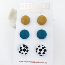 Load image into Gallery viewer, Small Stud Earrings-Fabric Button Studs-3 pack-Tikka Linen, Teal Linen, White black dots-Hey Jude Handmade