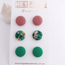 Load image into Gallery viewer, Small Fabric Studs-3 pack-Dusky Rose Linen, Green Summer Floral, Green-Hey Jude Handmade