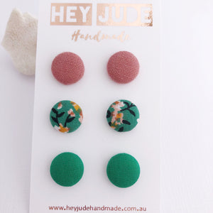 Small Fabric Studs-3 pack-Dusky Rose Linen, Green Summer Floral, Green-Hey Jude Handmade