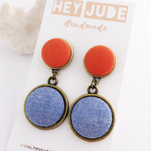 Load image into Gallery viewer, Bronze Statement Earrings-Antique Bronze and fabric-Double Drops-Bright Orange and Light Blue-Hey Jude Handmade