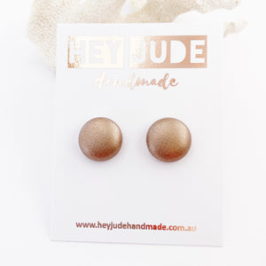 Small Stud Earrings-Leatherette-Rose Copper-Hey Jude Handmade