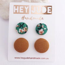 Load image into Gallery viewer, Fabric Button Stud Earrings-2 pack-Green Summer Floral and Saffron Linen-Hey Jude Handmade
