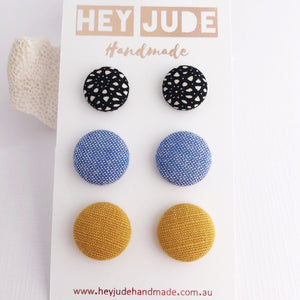 Fabric Button Stud Earrings-3 pack-Black Pattern, Light Blue, Mustard Yellow Linen Earrings-Hey Jude Handmade