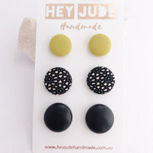 Load image into Gallery viewer, Stud Earrings-3 pack-Fabric Buttons-Lime Mustard Linen, Black Pattern, Black Leatherette Studs-Hey Jude Handmade