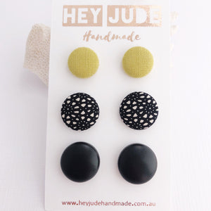 Stud Earrings-3 pack-Fabric Buttons-Lime Mustard Linen, Black Pattern, Black Leatherette Studs-Hey Jude Handmade
