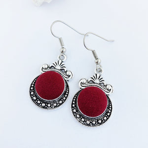Vintage style Dangle Earrings-Antique Silver setting with fabric covered button feature-Maroon-Hey Jude Handmade