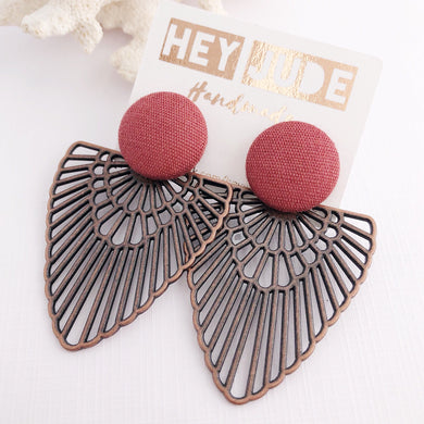Large Stud Dark Copper Boho Fans