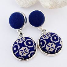 Load image into Gallery viewer, Antique Silver Statement Earrings- double drops with fabric features-dark blue smaller stud upper- dark blue cream pattern larger lower feature-Hey Jude Handmade