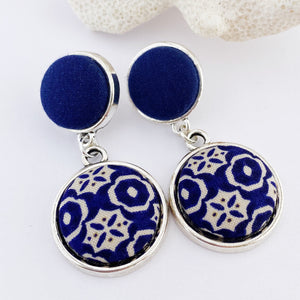 Antique Silver Statement Earrings- double drops with fabric features-dark blue smaller stud upper- dark blue cream pattern larger lower feature-Hey Jude Handmade