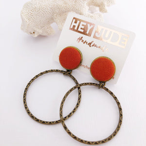 Hoop Earrings, Bronze Stud Dangles in Rust Orange coloured linen