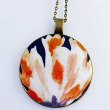 Load image into Gallery viewer, Large Long Brass Pendant Necklace-on Bronze chain- with fabric feature-Navy with white and rust flower- Hey Jude Handmade