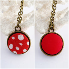 Load image into Gallery viewer, Mini Reversible Pendant Necklace-Small two sided fabric features set in bronze setting-Bright Red with random white spots + bright red reverse-bronze chain-Hey Jude Handmade