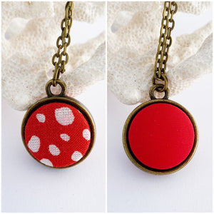 Mini Reversible Pendant Necklace-Small two sided fabric features set in bronze setting-Bright Red with random white spots + bright red reverse-bronze chain-Hey Jude Handmade