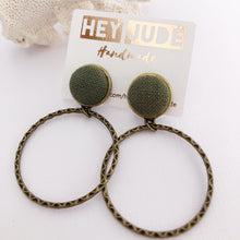 Load image into Gallery viewer, Hoop Earrings, Bronze Stud Dangles in Dark Green linen colour