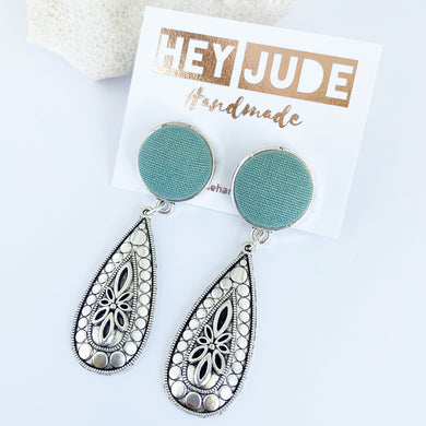 Antique Silver Boho Drop Earrings