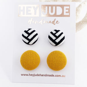 Fabric Button Stud Earrings-2 pack- small and medium sized Studs-White Black geometric pattern + Mustard Yellow woven fabric-Hey Jude Handmade
