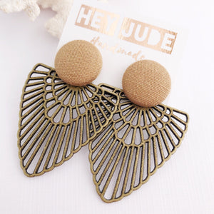 Sand coloured Stud, Bronze Fan Statement Earrings