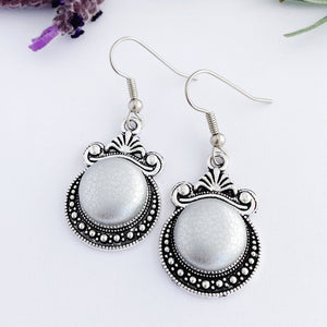 Vintage style Dangle Earrings-Antique Silver setting with fabric covered button feature-Metallic Silver Leatherette-Hey Jude Handmade