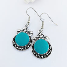 Load image into Gallery viewer, Silver Dangle Earrings-Vintage style earrings-Antique Silver setting with fabric covered button feature-Turquoise Green-Hey Jude Handmade
