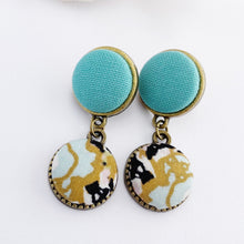Load image into Gallery viewer, Small Bronze Stud Dangles- Double Drops- with fabric features- Mint upper- Mint Gold Black patterned lower- hidden tree of life carving on reverse- Hey Jude Handmade