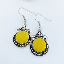 Load image into Gallery viewer, Vintage Style Silver Earrings-Dangle Earrings-Antique silver setting with fabric covered button feature-Bright mustard Yellow-Hey Jude Handmade