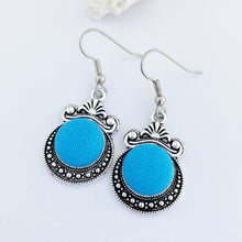 Load image into Gallery viewer, Vintage Style Dangle Earrings-Antique Silver setting with fabric covered button feature-Vivid Sky Blue-Hey Jude Handmade