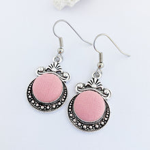 Load image into Gallery viewer, Silver Earrings-Vintage Style Dangle Earrings-Antique silver setting with fabric covered button feature-Peachy Pink-Hey Jude Handmade