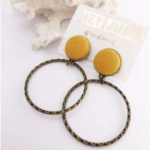 Hoop Earrings, Bronze Stud Dangles in Mustard Yellow coloured Linen