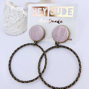 Hoop Earrings, Bronze Stud Dangles in Pale Pink coloured Linen