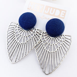 Large Stud Antique Silver Boho Fans