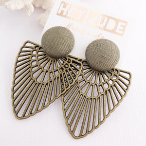 Sage Green Stud, Bronze Fan Statement Earrings