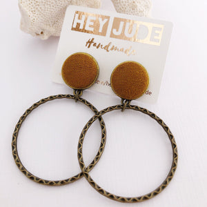 Hoop Earrings, Bronze Stud Dangles in Gold coloured Linen