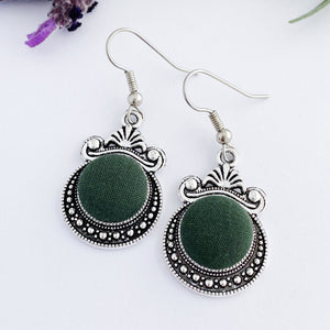 Vintage silver earrings-Antique Silver setting with fabric covered button feature-Forrest Green-Hey Jude Handmade