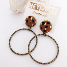 Load image into Gallery viewer, Brown Animal Print Stud Dangles, Bronze Hoop Earrings
