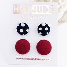 Load image into Gallery viewer, Fabric Button Stud Earrings-2 pack small and medium sized-Ink white spots + Maroon-Hey Jude Handmade
