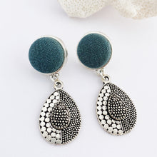 Load image into Gallery viewer, Antique Silver Drop Earrings- Stud Dangles with fabric feature-pine green linen-vintage look tear drop embellishment- Hey Jude Handmade