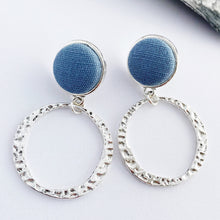 Load image into Gallery viewer, Antique Silver Hoop Earrings-Stud Dangles with fabric button feature-Duck Egg Blue Linen-Hammered textured irregular hoop-Hey Jude Handmade