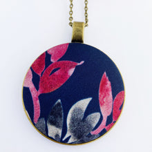 Load image into Gallery viewer, Large Long Pendant Necklace, brass- on bronze chain- with fabric feature-Navy with pink grey leaves- Hey Jude Handmade