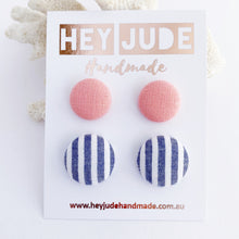Load image into Gallery viewer, Fabric Stud Earrings-2 pack-Peachy Pink + Wide Denim Stripes-Hey Jude Handmade