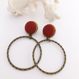 Hoop Earrings, Bronze Stud Dangles in Burgundy Rust colour