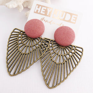 Dusky Pink Stud, Bronze Fan Statement Earrings