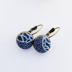 Small Bronze Bezel Drop Earrings-with favric covered button feature-Patterned Denim-Hey Jude Handmade