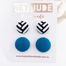 Load image into Gallery viewer, Fabric Stud Earrings-Small and Medium sizes-2 pack-White Black Geometric pattern + Teal linen-Hey Jude Handmade