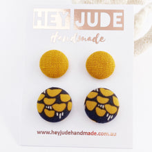 Load image into Gallery viewer, Fabric Stud Earrings-Small and Medium sized Studs-2 pack-Mustard Yellow Linen + Grey Mustard pattern-Hey Jude Handmade