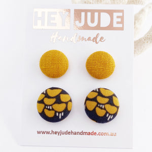 Fabric Stud Earrings-Small and Medium sized Studs-2 pack-Mustard Yellow Linen + Grey Mustard pattern-Hey Jude Handmade