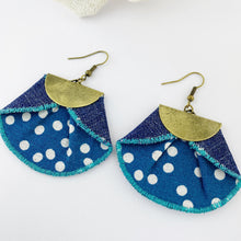 Load image into Gallery viewer, Statement Earrings-Pleated Denim Dangle Earrings-Teal with white polka dots fabric- dark denim reverse- half moon antique bronze feature-bronze ear wires-Hey Jude Handmade