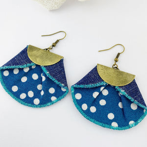 Statement Earrings-Pleated Denim Dangle Earrings-Teal with white polka dots fabric- dark denim reverse- half moon antique bronze feature-bronze ear wires-Hey Jude Handmade