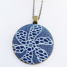 Load image into Gallery viewer, Large Pendant Necklace- fabric feature in round brass setting-Flower patterned Denim-on long bronze chain-Hey Jude Handmade