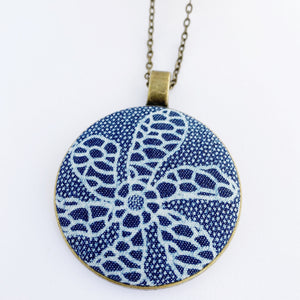 Large Pendant Necklace- fabric feature in round brass setting-Flower patterned Denim-on long bronze chain-Hey Jude Handmade